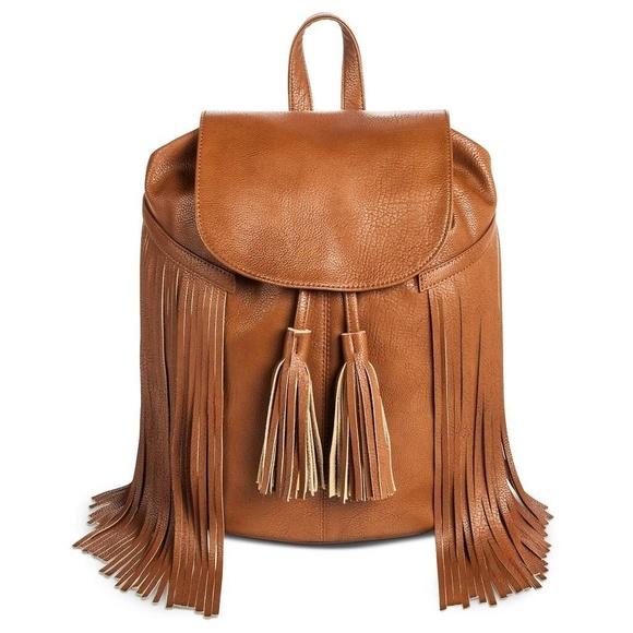 Mossimo Supply Co. Handbags - Mossimo, Fringe Backpack Handbag with Solid Flap
